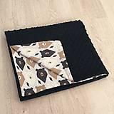 Textil - Minky deka čierna - Macko - 10392879_