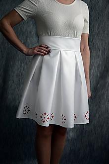 Sukne - Dámska spoločenská sukňa maľované ornamenty-jemná maslová - 10389208_