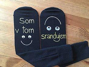 Obuv - Maľované čierne ponožky s nápisom: