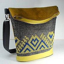 "Veľké tašky - Vyšívaná kabelka ""Žltomodrá výšivka"" - 10391672_"