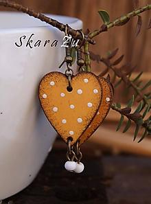 Náušnice - Heart dots amber - 10390083_