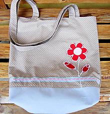 Nákupné tašky - Červený kvietok  - taška - 10390278_