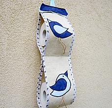Úžitkový textil - Modré vtáčence - zásobník na TP - 10390468_