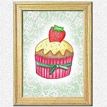 Obrázky - Koláčiky (jahodový koláčik + kárované pozadie) - 10388613_
