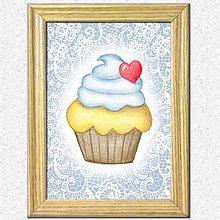 Obrázky - Koláčiky (Krémový koláčik + kárované pozadie) - 10388624_