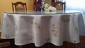 Úžitkový textil - Velkonočný  obrus s hnedým vzorom / Easter flowers - 10396680_