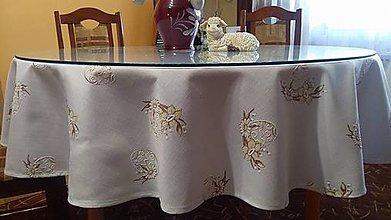 Úžitkový textil - Velkonočný  obrus s hnedým vzorom / Easter flowers (Okrúhly obrus) - 10396680_