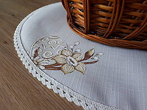 Úžitkový textil - Velkonočný  obrus s hnedým vzorom / Easter flowers (Oválny obrúsok do košíka) - 10396710_