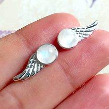 Náušnice - Moonstone Wings Earrings AG925 / Strieborné napichovacie náušnice s mesačným kameňom /1502 - 10394378_