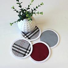 Úžitkový textil - podložky pod pohár SIVÉ KÁRO  (set 4ks) - 10397353_