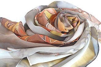 Šatky - Měděná růže. Hedvábný šátek. - 10396342_
