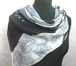 Šatky - Stříbrná růže. Hedvábný šátek. - 10396433_