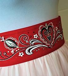 Opasky - folk maľovaný opasok červený - plátno - 10395828_