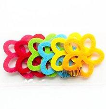 Textil - Filcová ozdoba, sada 6 ks, kvetinky - 10395023_
