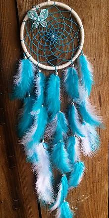 Dekorácie - Lapač snov Modrý motýľ - 10394653_