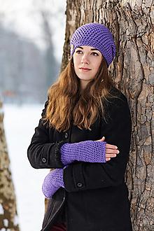 Čiapky - Fialová čiapka s rukavicami / set - 10393172_