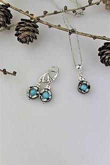 Sady šperkov - akvamarínový jadeit a hematit náušnice s prívesok - 10393421_
