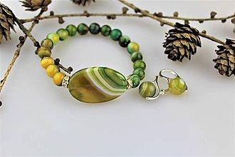 Sady šperkov - achát náramok a náušnice - 10396569_