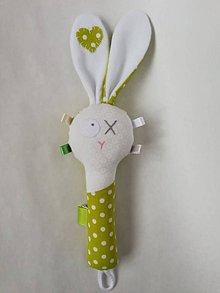 Hračky - Látková hrkálka - zelená - 10396407_