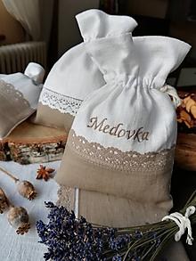 Úžitkový textil - Ľanové vrecúška na bylinky, huby, sušené ovocie...... - 10396131_
