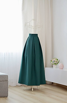 Sukne - MAXI skladaná sukňa s vreckami  (obvod pásu do 80cm) - 10393528_