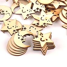 Papier - drevený výrez mesiac/hviezdička - 10395650_