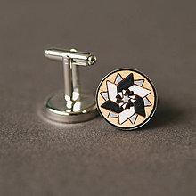 Šperky - elegán (čierno-bielo-strieborná vrtuľka) - 10396796_