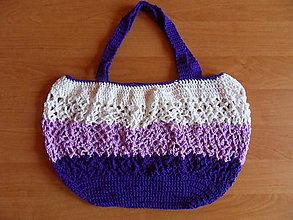 Nákupné tašky - Fialová háčkovaná sieťovka - 10394691_