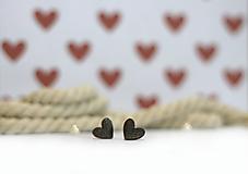 Náušnice - mini ♥ (Hnedá) - 10394510_