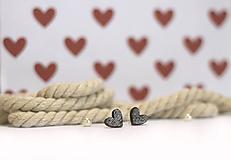Náušnice - mini ♥ (Hnedá) - 10394511_
