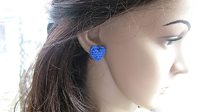Náušnice - Pletené srdiečka - napichovačky (modré - č. 2569) - 10394946_