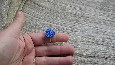 Prstene - Pletené srdiečko - prsteň, chirurgická oceľ (modré, č. 2570) - 10394979_