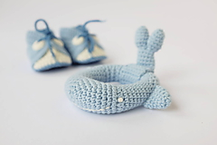 Hračky - Veľryba - hrkálka (bledo-modrá) - 10395415_