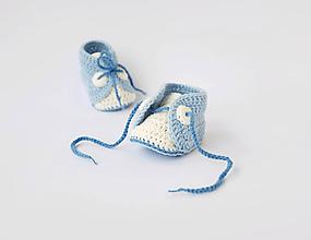 Topánočky - papučky na šnurovanie (bledomodré) - 10395118_