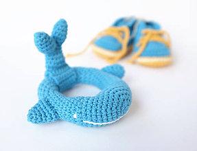 Hračky - Veľryba - hrkálka (stredne-modrá) - 10395382_