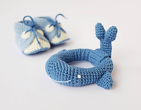 Hračky - Veľryba - hrkálka (tmavo-modrá) - 10395439_