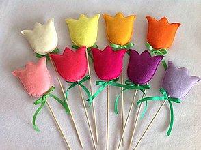 Dekorácie - Veľkonočné tulipány pestré - zápich - 10394757_