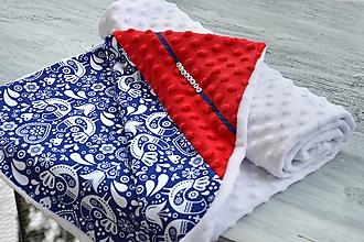 Textil - Minky deka vtáčiky modré 100x75cm - 10396454_