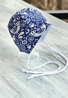 Detské čiapky - Detská čiapka vtáčiky modrá - 10396579_