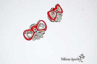 Náušnice - Červené mašličky - 10393655_
