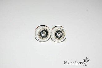 Náušnice - čierno sivé krúžka - 10393768_