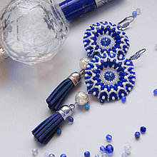 Náušnice - Náušnice: Boho Chic modro-biele (chirurgická oceľ) - 10397289_