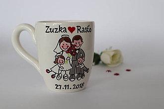 Nádoby - Svadobné hrnčeky - rodinka - 10397378_
