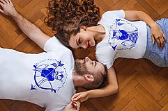 Tričká - Tričko STRELEC & STRELENÁ /modré - 10394091_