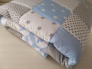 Úžitkový textil - Patchwork deka - Grey & Blue - 10398112_