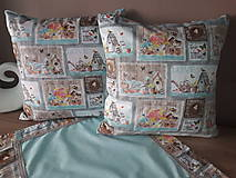 Úžitkový textil - Kvetinová sada (Hnedé domčeky s mintovou) - 10399115_