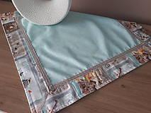 Úžitkový textil - Kvetinová sada (Hnedé domčeky s mintovou) - 10399116_