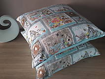Úžitkový textil - Kvetinová sada (Hnedé domčeky s mintovou) - 10399117_