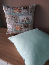 Úžitkový textil - Kvetinová sada (Hnedé domčeky s mintovou) - 10399119_