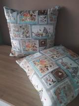 Úžitkový textil - Kvetinová sada (Hnedé domčeky s mintovou) - 10399120_